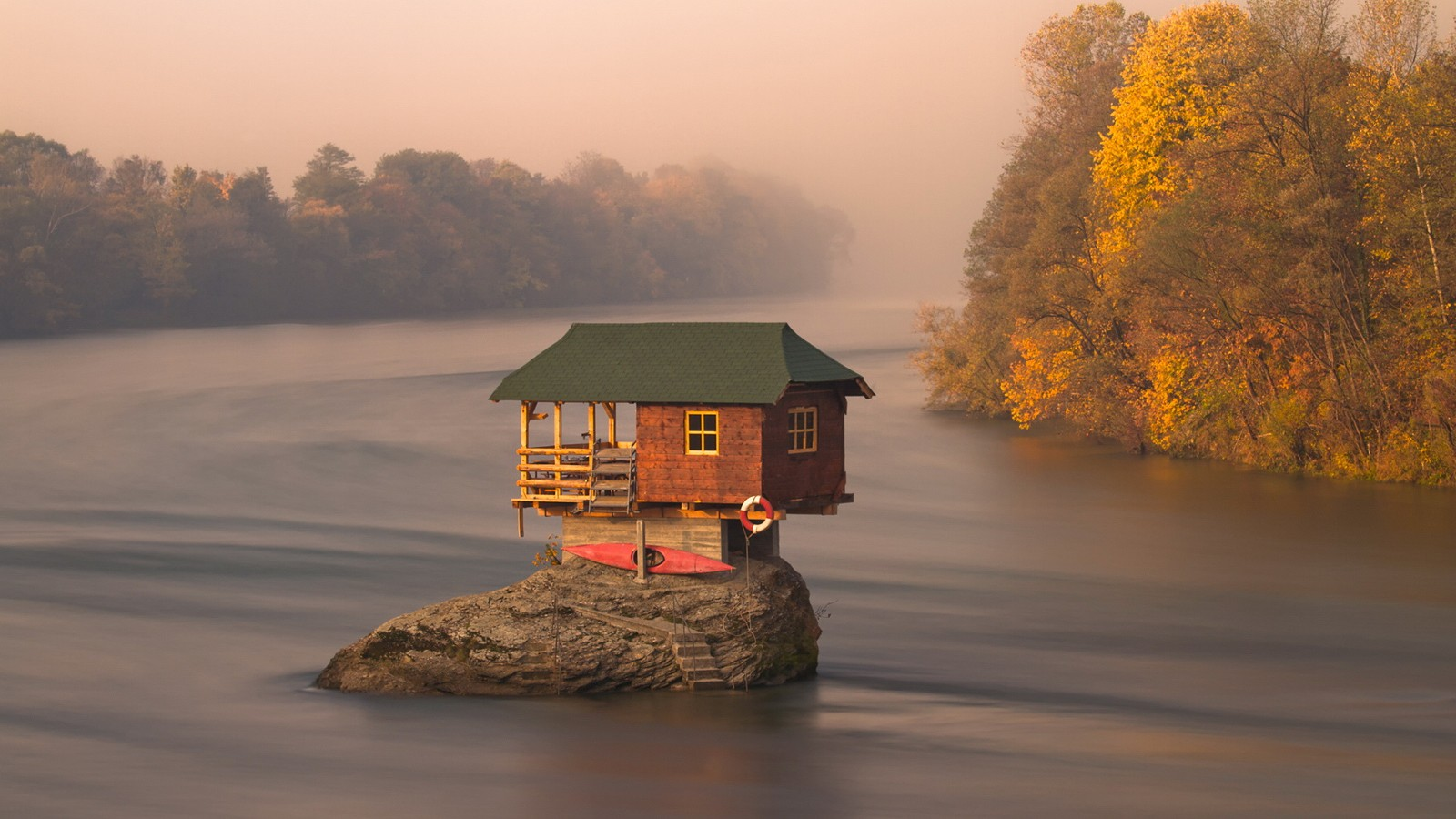 House On Rock In Water